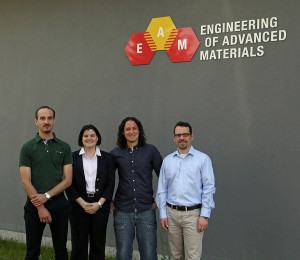 The awardees of the EAM Starting Grants 2013: (from right) Julien Bachmann, Sabine Maier, Rubén Costa, Erik Bitzek (Image: EAM/FAU)