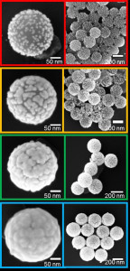 Gold nano-shells in various stages of growth – top left: still small gold islands, bottom left: a closed gold shell. (Image: FAU)