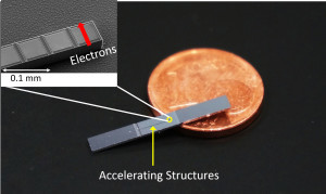Not much larger than a one cent coin, that's how it looks: in fact the accelerator on a chip is much smaller than a one cent coin. It is so small that the nanostructure can only be seen with an electron microscope, see inset. With this new technology, particle accelerators – which are currently several kilometres long – could fit in a shoe box in the future. Bild: FAU/Josh McNeur