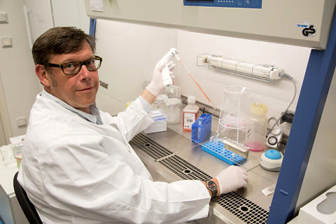Prof. Dr. Christian Pilarsky in his laboratory.