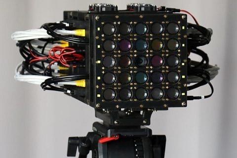 The prototype of the high-resolution multi-spectral camera developed by a research team at the Chair of Multimedia Communications and Signal Processing at FAU: 5x5 cameras combine spatial, temporal and spectral resolution.